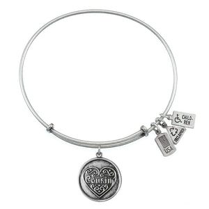 Wind & Fire Cousin Filigree Heart Charm Bangle
