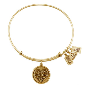 Wind & Fire Daughter Filigree Heart Charm Bangle