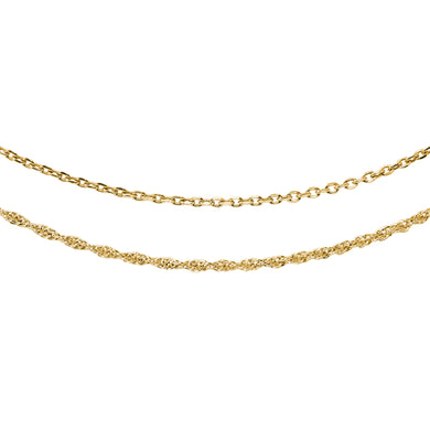 Wind & Fire Lovely Layers Gold Cable & Gold Rope Necklaces