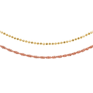 Wind & Fire Lovely Layers Gold Bead & Rose Rope Necklaces