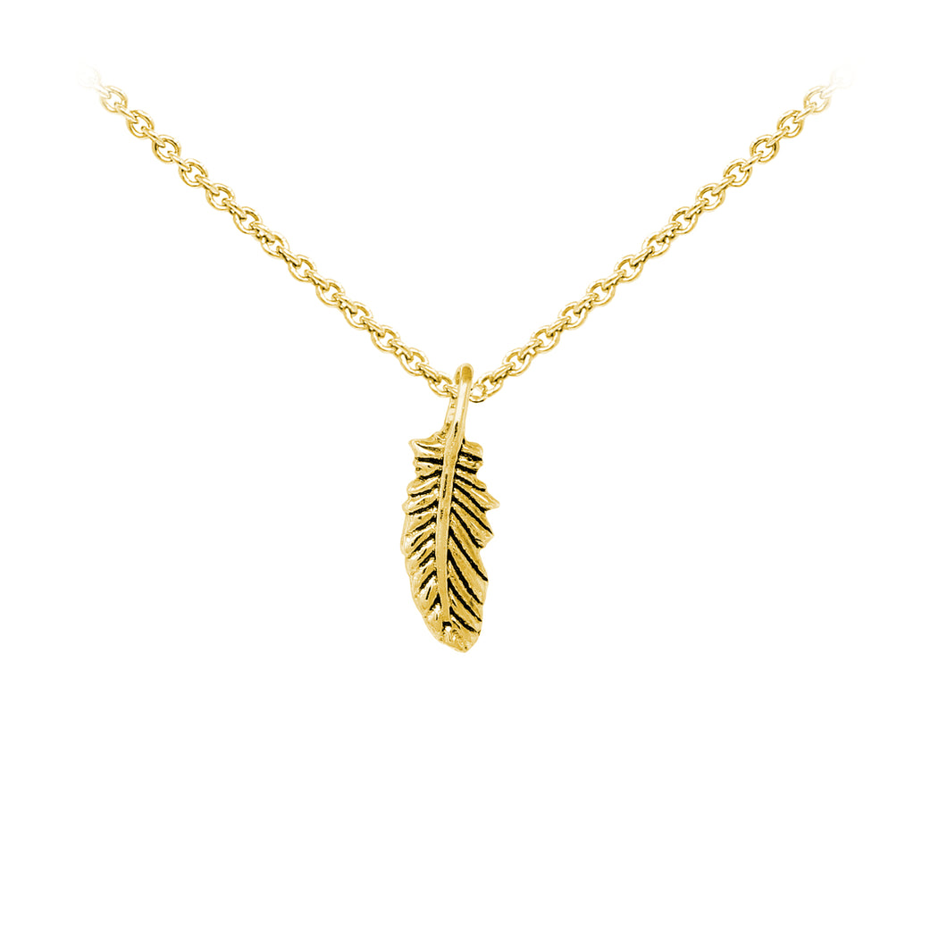 Wind & Fire Feather Sterling Silver Dainty Necklace