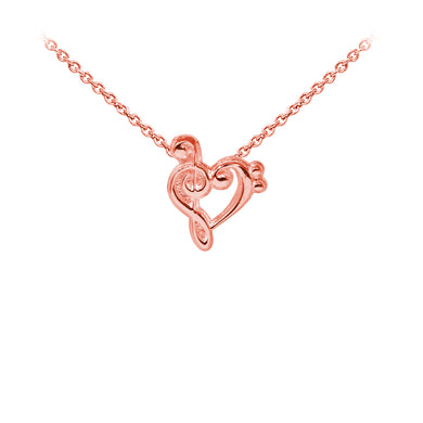 Wind & Fire Music Heart Sterling Silver Dainty Necklace