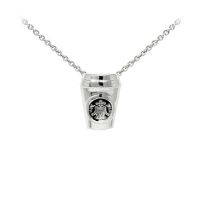 Wind & Fire Coffee Cup Sterling Silver Dainty Necklace