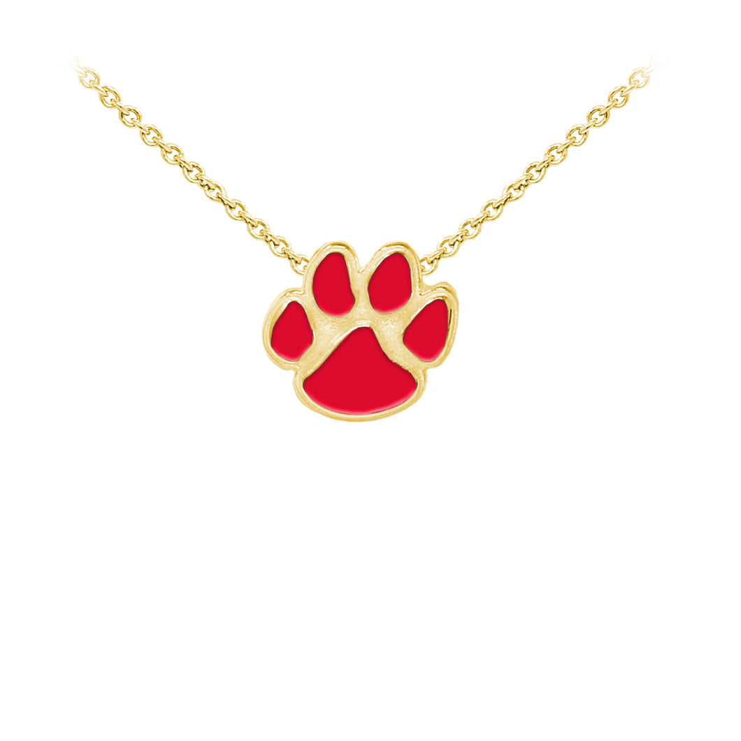 Wind & Fire Enameled Paw Print Sterling Silver Dainty Necklace