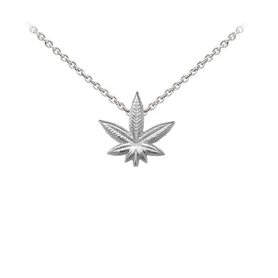 Wind & Fire Hemp Leaf Sterling Silver Dainty Necklace