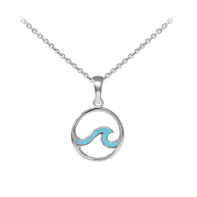 Wind & Fire Enameled Outline Wave Sterling Silver Dainty Necklace