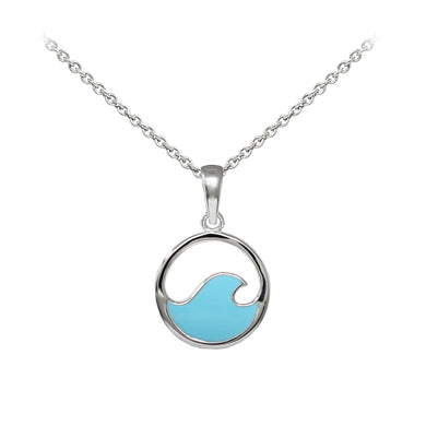 Wind & Fire Enameled Solid Wave Sterling Silver Dainty Necklace