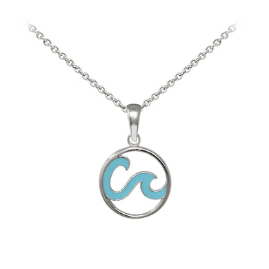 Wind & Fire Enameled Double Wave Sterling Silver Dainty Necklace