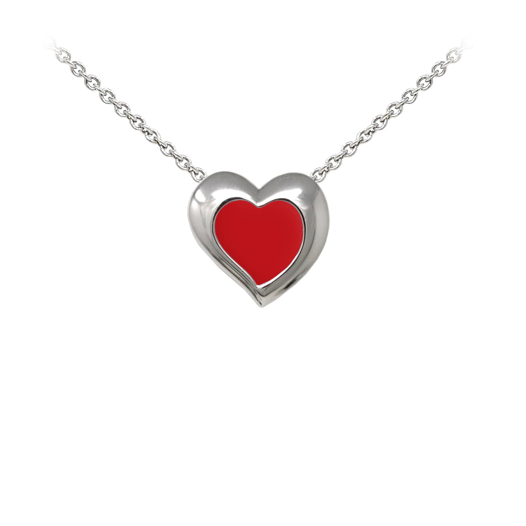 Wind & Fire Red Enameled Heart Sterling Silver Dainty Necklace
