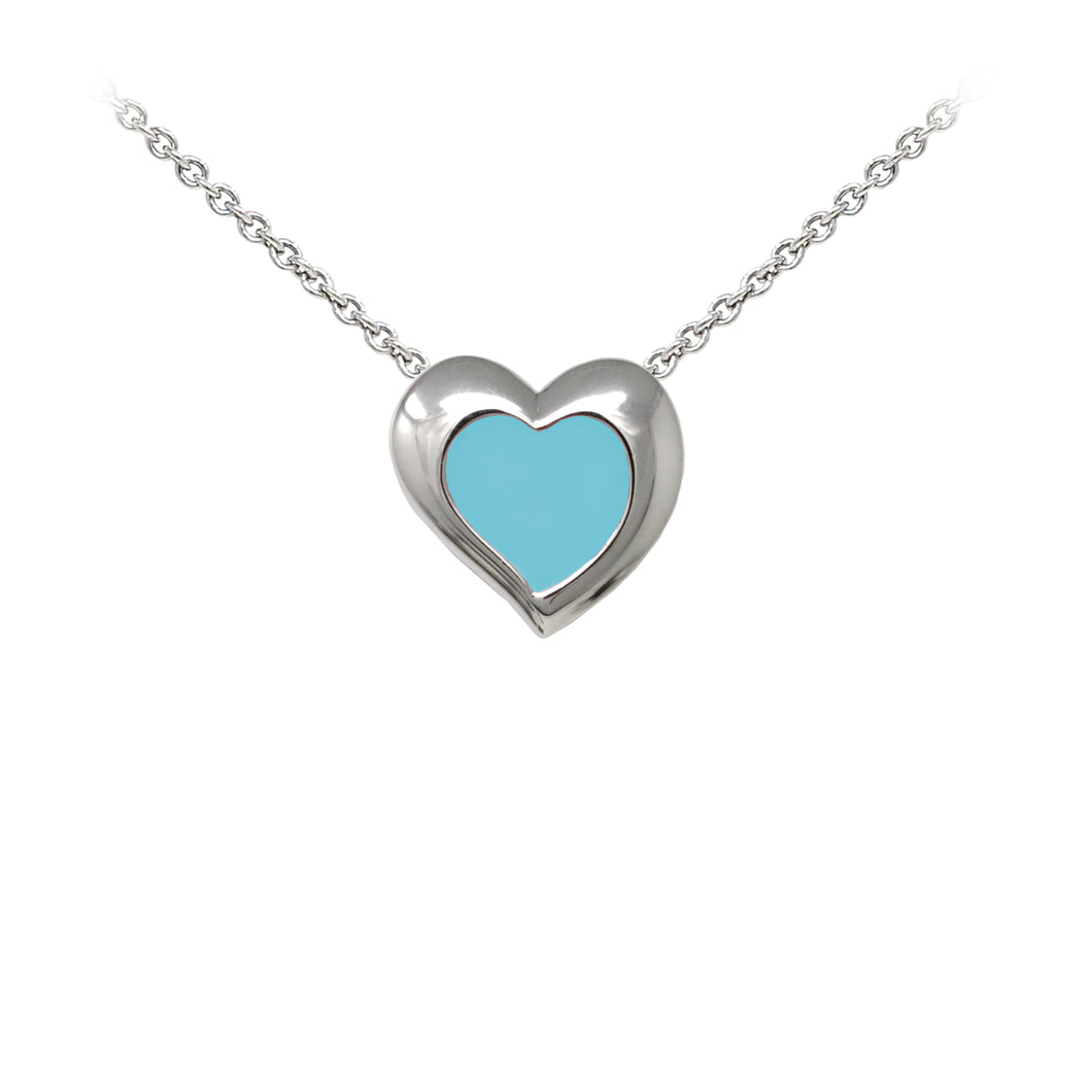 Wind & Fire Turquoise Enameled Heart Sterling Silver Dainty Necklace