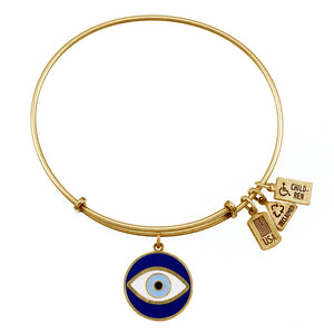 Wind & Fire Evil Eye Enameled Charm Bangle