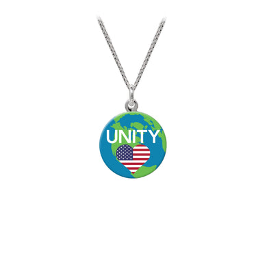 Wind & Fire Unity w/USA Flag Heart Statement Necklace (16mm Art Disc)