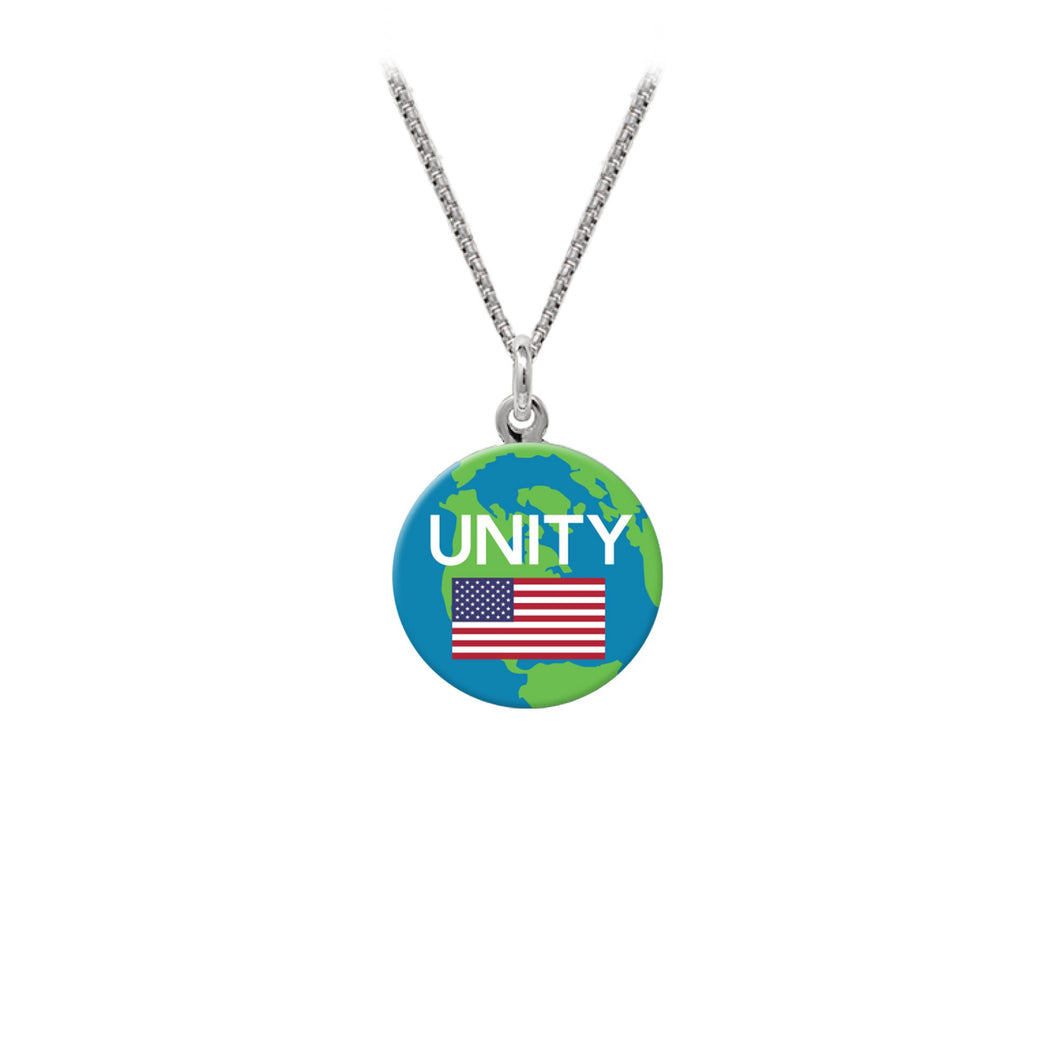 Wind & Fire Unity w/USA Flag Statement Necklace (16mm Art Disc)