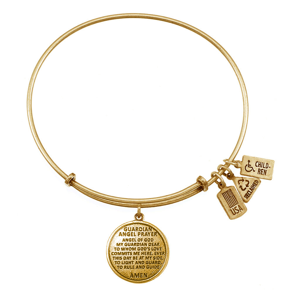 Wind & Fire Guardian Angel Prayer Charm Bangle