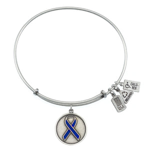 Wind & Fire Blue Awareness Ribbon Charm Bangle