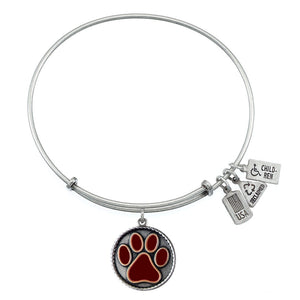 Wind & Fire Maroon Paw Print Charm Bangle