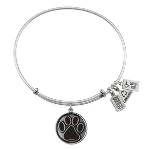 Wind & Fire Black Paw Print Charm Bangle