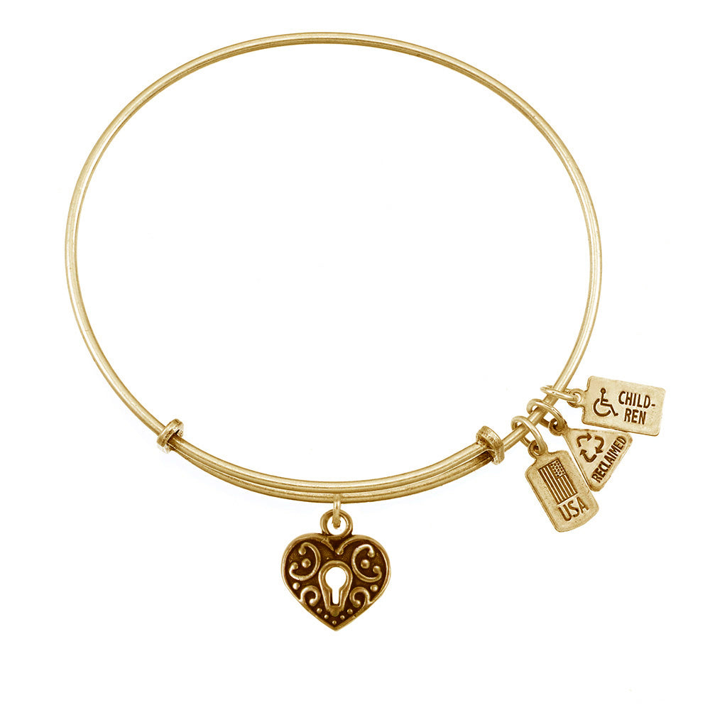 Wind & Fire Heart Lock Charm Bangle