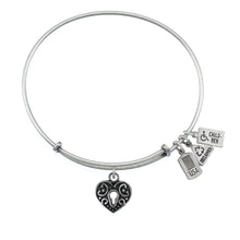 Load image into Gallery viewer, Wind & Fire Heart Lock Charm Bangle