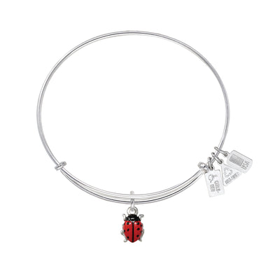 Wind & Fire Ladybug Enameled Charm Bangle