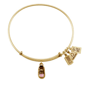 Wind & Fire Pink Baby Shoe Enameled Charm Bangle