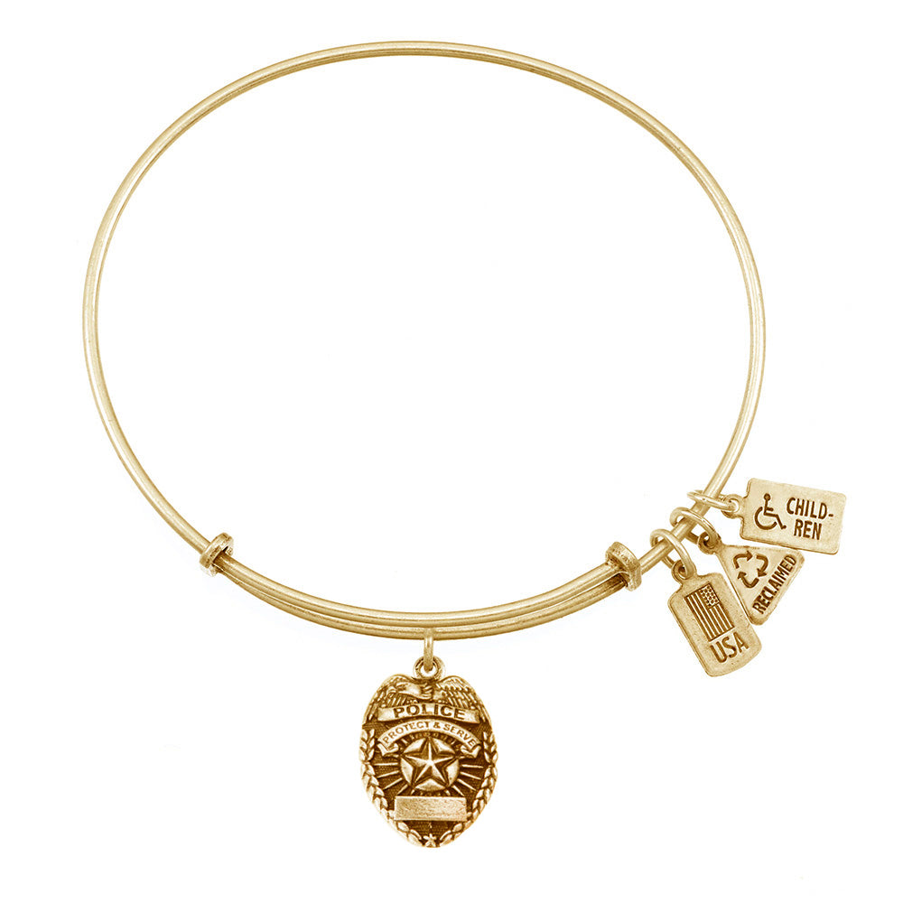 Wind & Fire Police Badge Charm Bangle