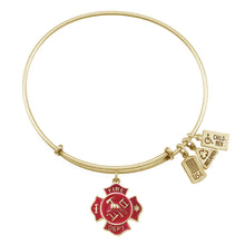 Load image into Gallery viewer, Wind & Fire Fire Shield Enameled Charm Bangle