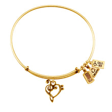 Load image into Gallery viewer, Wind & Fire Music Heart Charm Bangle
