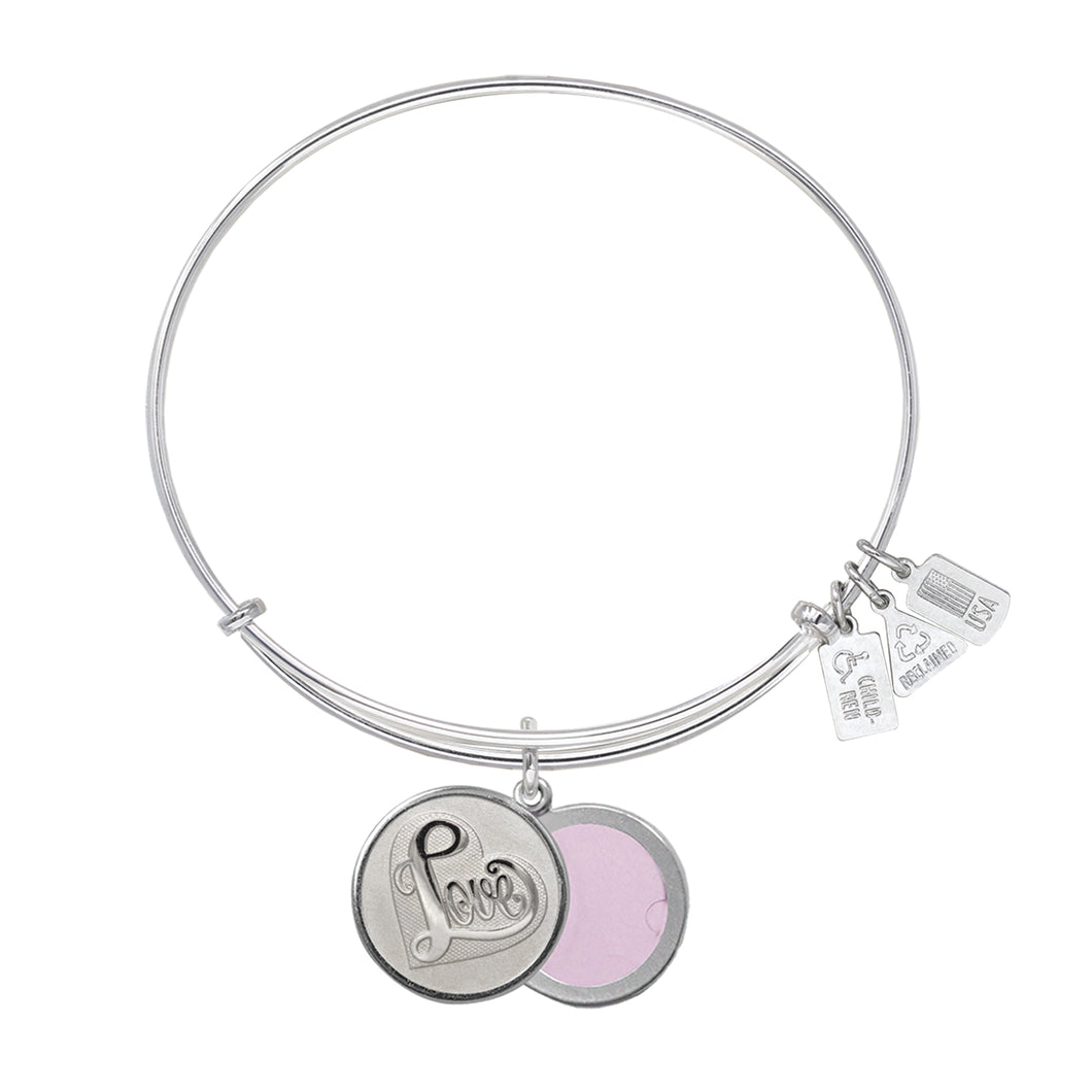 Wind & Fire Love in Heart Slide Locket Charm Bangle