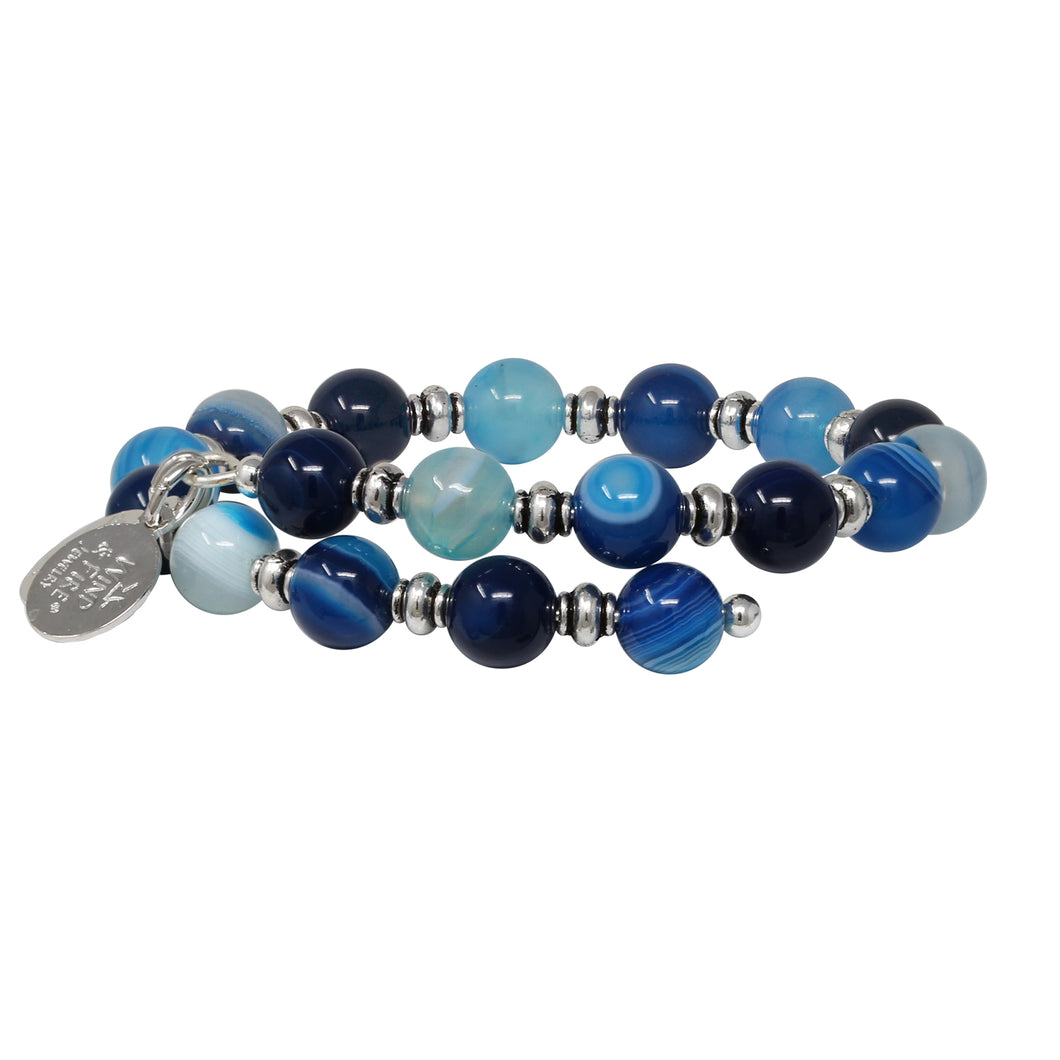 Wind & Fire Blue Lagoon Natural Bead Wrap 8mm