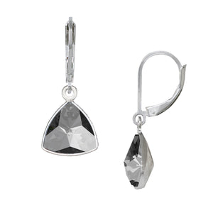 Wind & Fire Black Diamond Trillion Leverback Earrings