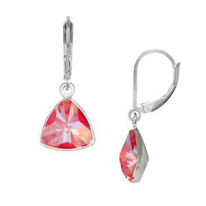 Wind & Fire Coral Trillion Leverback Earrings