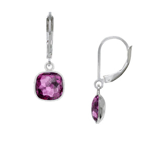Wind & Fire February/Amethyst 8mm Cushion Leverback Earrings