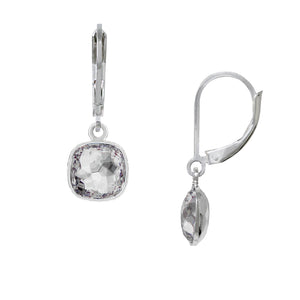 Wind & Fire April/White Crystal 8mm Cushion Leverback Earrings