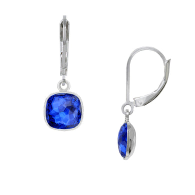 Wind & Fire September/Majestic Blue 8mm Cushion Leverback Earrings