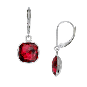 Wind & Fire January/Scarlet 10mm Cushion Leverback Earrings