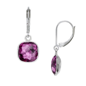 Wind & Fire February/Amethyst 10mm Cushion Leverback Earrings