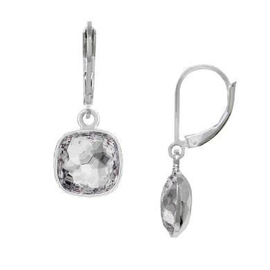 Wind & Fire April/White Crystal 10mm Cushion Leverback Earrings