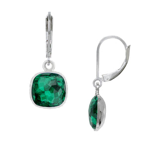 Wind & Fire May/Emerald 10mm Cushion Leverback Earrings