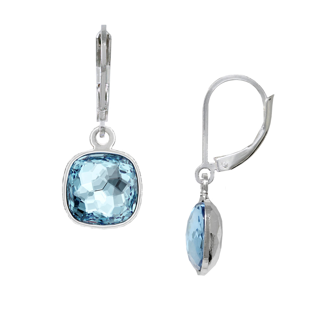 Wind & Fire December/Aquamarine 10mm Cushion Leverback Earrings