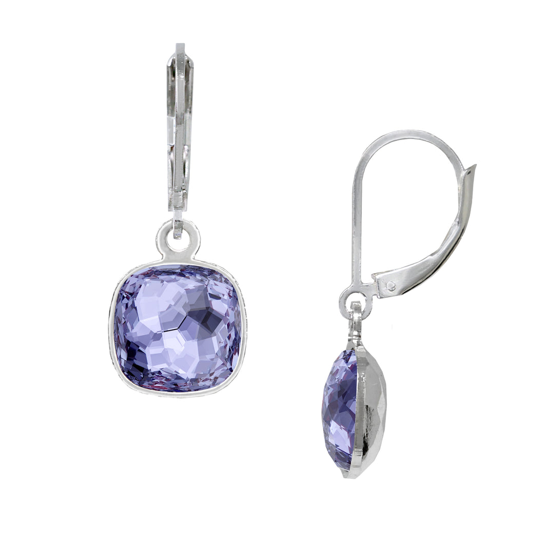 Wind & Fire Tanzanite 10mm Cushion Leverback Earrings