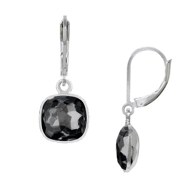 Wind & Fire Black Diamond/Silver Night 10mm Cushion Leverback Earrings