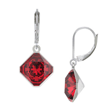 Wind & Fire January/Scarlet 10mm Diamond-Shape Leverback Earrings