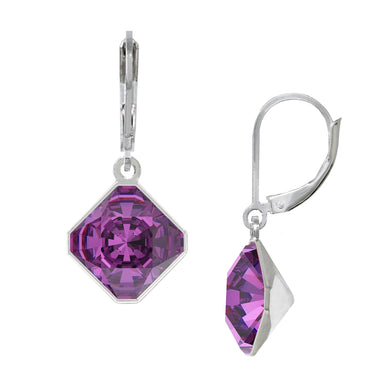 Wind & Fire February/Amethyst 10mm Diamond-Shape Leverback Earrings