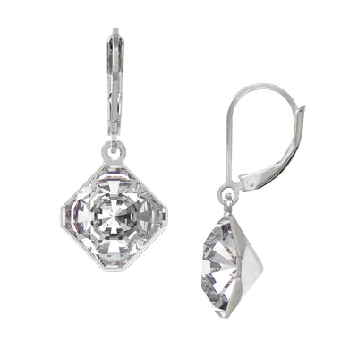 Wind & Fire April/White Crystal 10mm Diamond-Shape Leverback Earrings