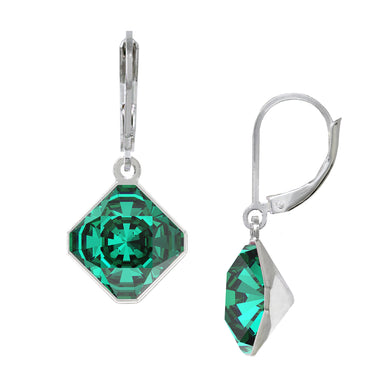 Wind & Fire May/Emerald 10mm Diamond-Shape Leverback Earrings