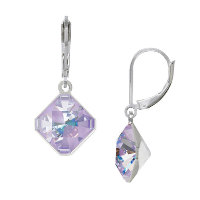 Wind & Fire June/Lavender 10mm Diamond-Shape Leverback Earrings