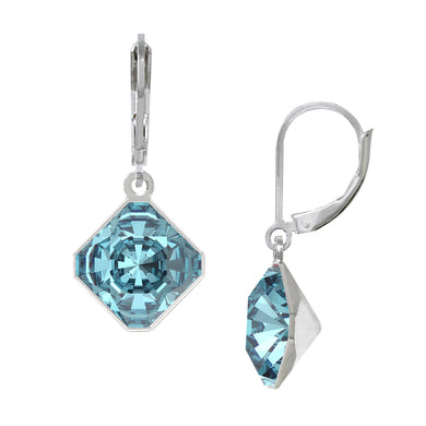 Wind & Fire December/Aquamarine 10mm Diamond-Shape Leverback Earrings