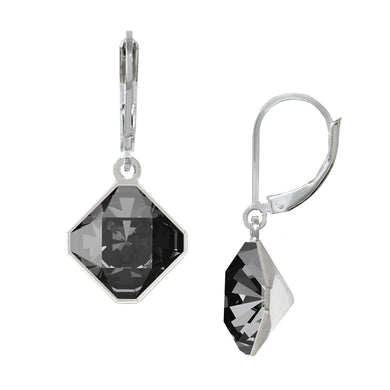Wind & Fire Black Diamond/Silver Night 10mm Diamond-Shape Leverback Earrings
