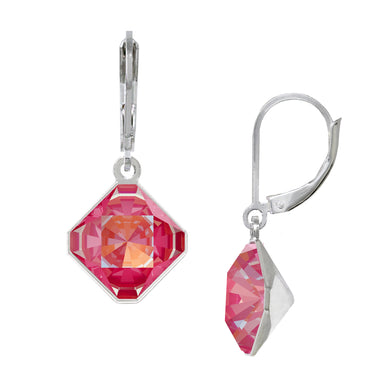 Wind & Fire Coral/Lotus Pink 10mm Diamond-Shape Leverback Earrings